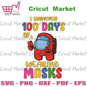 I Survived 100 Days Wearing Masks Svg, Back to school cricut files, Silhoutte files, Sublimation files Instant Download
