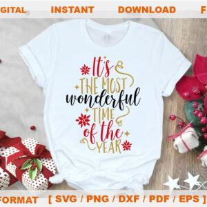 Wonderful Time Of The Year Svg, Christmas SVG Files For Silhouette, Files For Cricut, SVG, DXF, EPS, PNG Instant Download